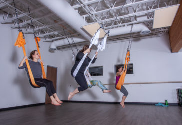 Aerial yoga at Gravity Fitness and Tennis in Hailey Idaho